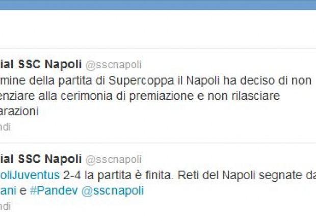 Conferma anche sul profilo Twitter della SSC Napoli: gli azzurri disertano la premiazione