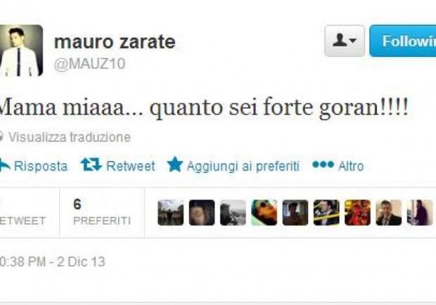 """Zarate punge la Lazio su Twitter: """"Mamma mia Pandev, quanto sei forte!"""""""