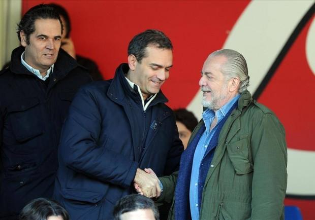 Stadio San Paolo, De Magistris e De Laurentiis in tribuna: solo un saluto tra i due
