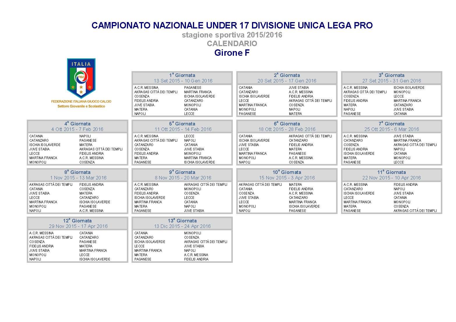 Calendario Allievi Lega Pro.Under 17 Lega Pro Ecco Il Calendario Il Napoli Debutta In