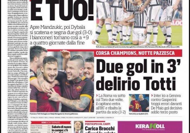 """FOTO – Il Corriere dello Sport festeggia la Juventus: """"Lo scudetto è tuo"""""""