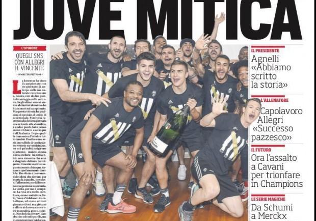 "FOTO – Cds in prima pagina: ""Juve mitica. Ora parte l'assalto a Cavani per trionfare in Champions"""