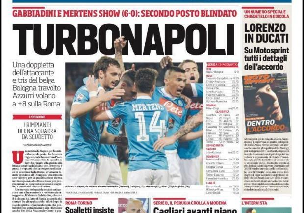 "FOTO – CdS in prima pagina: ""TurboNapoli, secondo posto blindato"""
