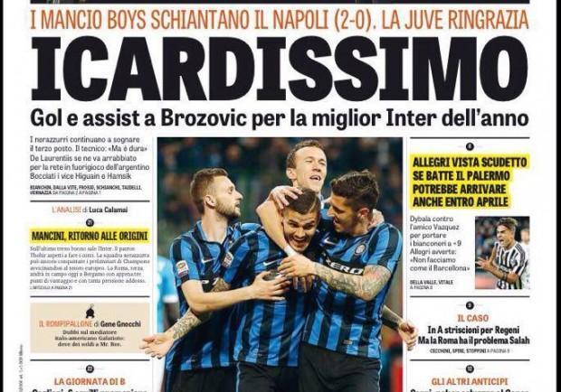 FOTO – La Gazzetta dello Sport titola 'Icardissimo' e boccia Hamsik e Gabbiadini