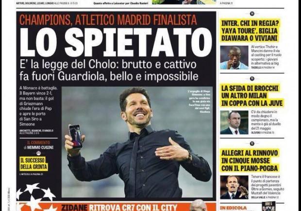 """FOTO – La Gazzetta dello Sport: """"Simeone lo spietato fa fuori Guardiola"""""""