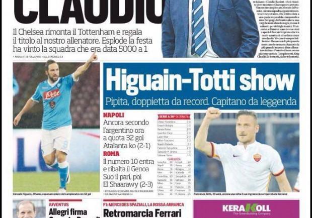 """FOTO – Il Corriere dello Sport esalta Ranieri: """"King Claudio, è una favola meravigliosa"""""""
