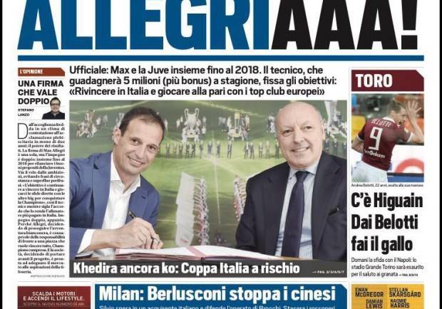 """Tuttosport in prima pagina: """"Toro, c'è il Napoli. Dai Belotti fai il gallo"""""""