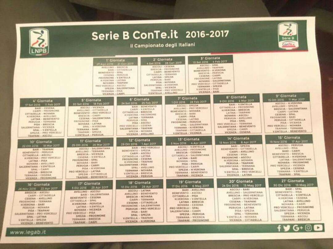 Benevento Calendario.Foto Serie B Definito Il Calendario Il Primo Derby