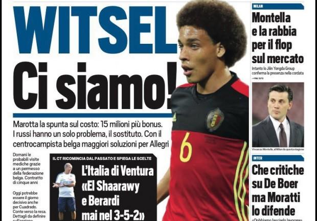 """FOTO – Tuttosport in prima pagina: """"Il Toro su Valdifiori, Witsel ad un passo dalla Juventus"""""""