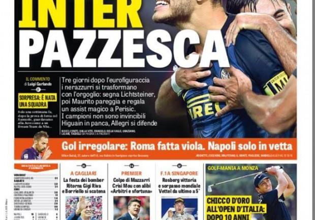 """FOTO – Gazzetta dello Sport: """"Roma, sconfitta con gol irregolare. Napoli solo in vetta"""""""