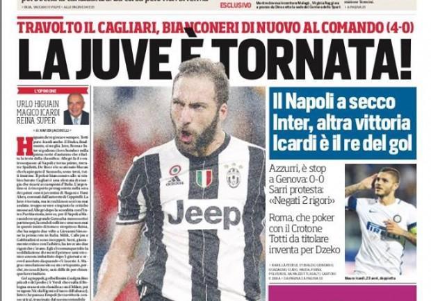 """FOTO – Corriere dello Sport in prima pagina, Sarri: """"Negati due rigori"""""""