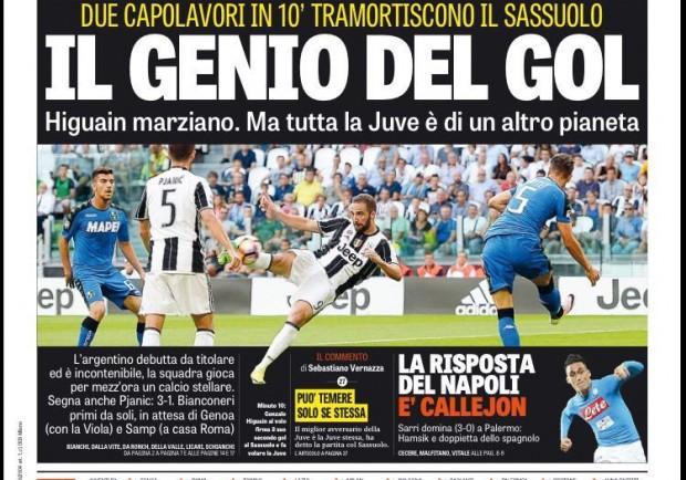 """FOTO – Gazzetta in prima pagina: """"E' Callejon la risposta del Napoli ad Higuain"""""""