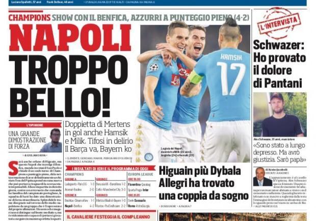 """FOTO – Corriere dello Sport: """"Napoli troppo bello"""""""