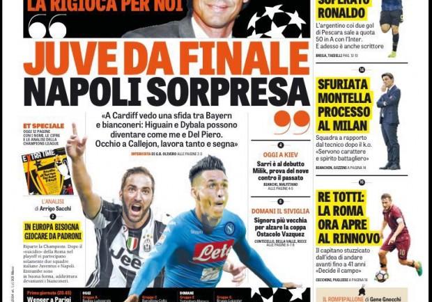 """FOTO – Gazzetta in prima pagina: """"Champions al via, Napoli possibile sorpresa"""""""