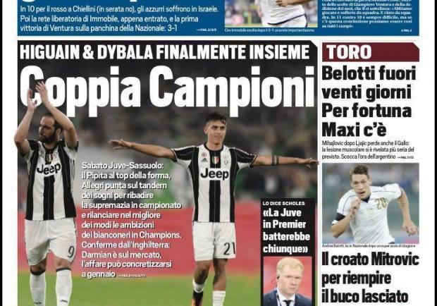 """FOTO – Tuttosport in prima pagina: """"Ciro d'Italia, gol alla paura"""""""
