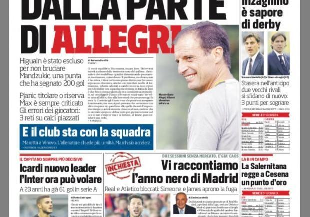 """FOTO – Il Cds in prima pagina: """"Napoli da scudetto, con super Milik può arrivare il titolo"""""""