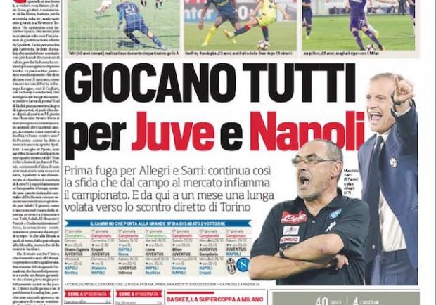 """FOTO – Corriere dello Sport: """"Prima fuga per Allegri e Sarri ad un mese dallo scontro diretto"""""""