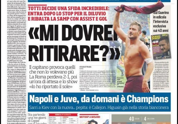 """FOTO – Corriere dello Sport in prima pagina: """"Napoli, da domani è Champions con la pepita Callejon"""""""