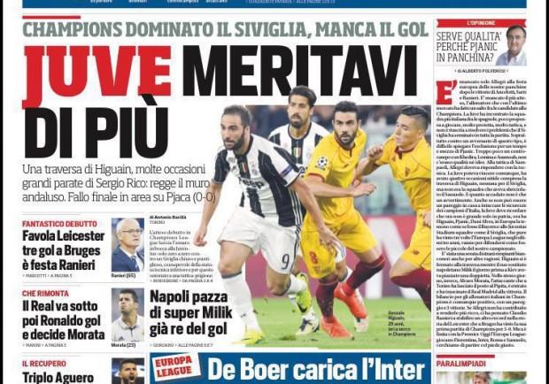 """FOTO – Corriere dello Sport: """"Juve, meritavi di più. Napoli pazza di Super Milik"""""""