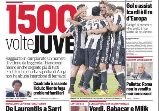 """FOTO – Corriere dello Sport, De Laurentiis a Sarri: """"Non cerchiamo alibi"""""""