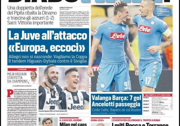 """FOTO – Il Corriere dello Sport in prima pagina esalta Milik: """"DiaboMilik"""""""