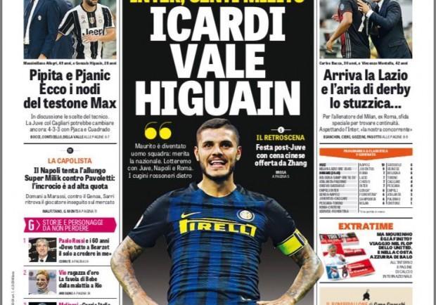 """FOTO – GdS in prima pagina: """"Super Milik vs Pavoletti, il Napoli prova l'allungo"""""""