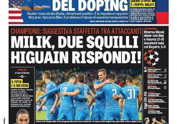 """FOTO – La Gazzetta dello Sport in prima pagina: """"Due squilli di Milik, Higuain rispondi!"""""""