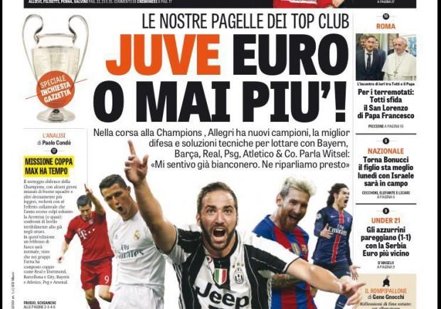 """Gazzetta in prima pagina: """"Juve, 'Euro' o mai più. Il Palermo a De Zerbi"""""""