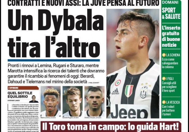 "FOTO – Tuttosport: ""La Juventus pensa ai rinnovi di Lemina, Sturaro e Rugani"""