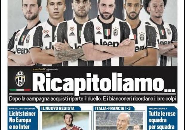 "FOTO – Tuttosport in prima: ""De Laurentiis si vanta e la Juve risponde…"""