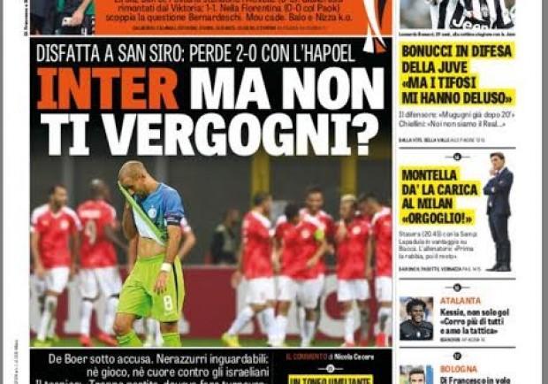 """FOTO – La Gazzetta attacca in prima: """"Inter, ma non ti vergogni?"""""""