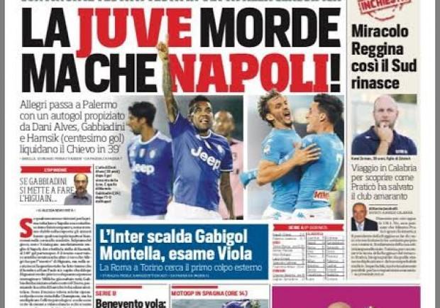 """FOTO – Il CorSport in prima: """"La Juve morde, ma che Napoli!"""""""