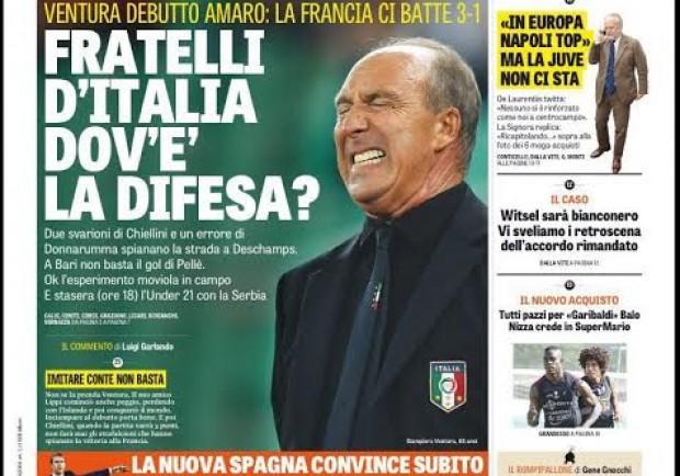 """FOTO – La Gazzetta in prima pagina: """"Fratelli d'Italia, dov'è la difesa?"""""""
