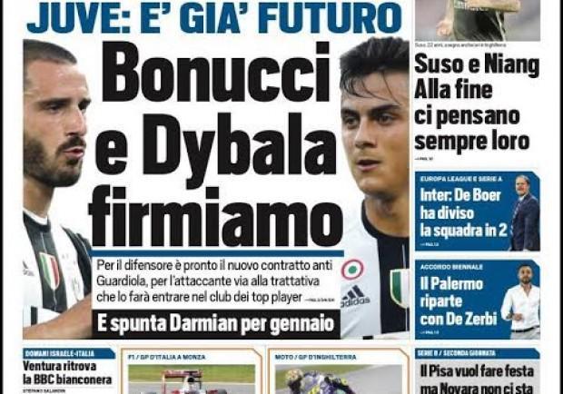 """FOTO – Tuttosport in prima: """"Futuro Juve, Bonucci e Dybala…"""""""