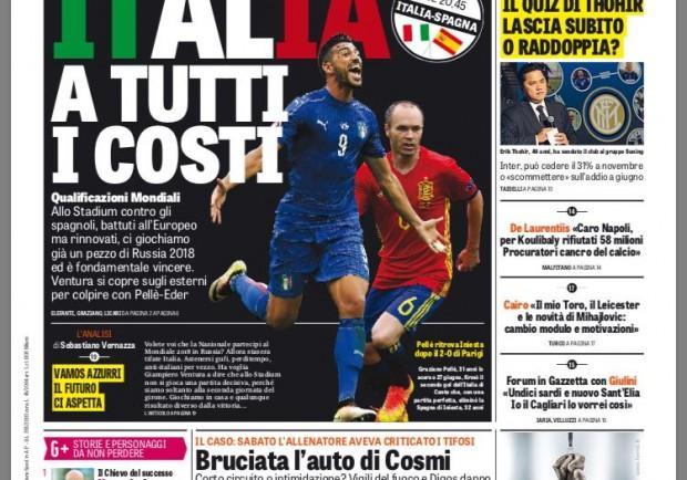 """FOTO – Gazzetta dello Sport: """"Italia a tutti i costi"""""""
