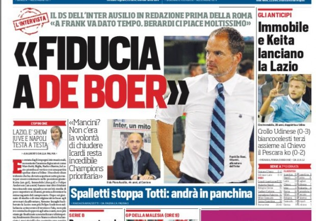 """FOTO – Corriere dello Sport: """"Ausilio conferma De Boer, Sarri chiama i gol di Milik"""""""