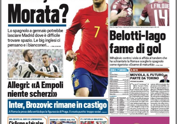 FOTO – Tuttosport, Brozovic ancora fuori in casa Inter