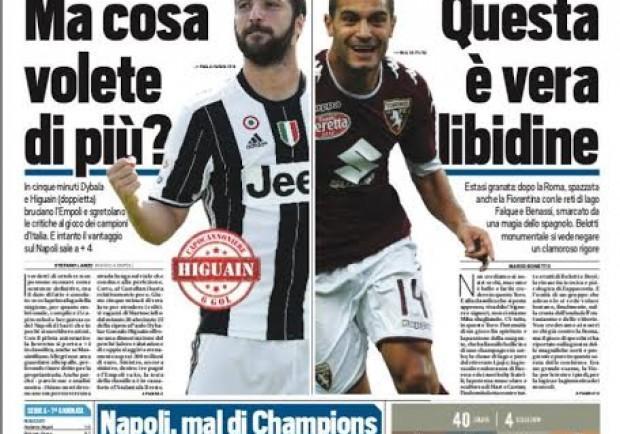 """FOTO – La prima di Tuttosport: """"Napoli, mal di Champions"""""""