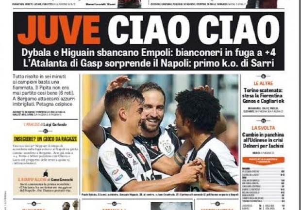 """FOTO – La Gazzetta apre con la fuga bianconera: """"Juve, ciao ciao"""""""