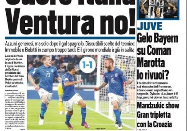 """FOTO – La prima di Tuttosport: """"Cuore Italia, Ventura no!"""""""