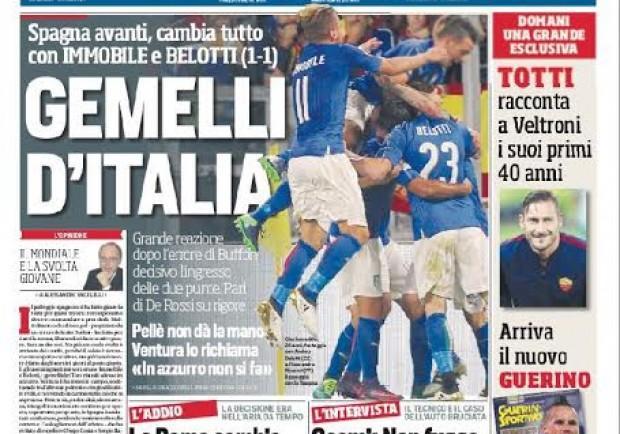"""FOTO – La prima del CorSport su Belotti-Immobile: """"Gemelli d'Italia"""""""