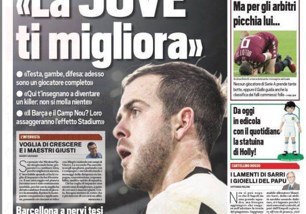 """FOTO – Tuttosport, Pjanic: """"La Juventus ti migliora"""""""