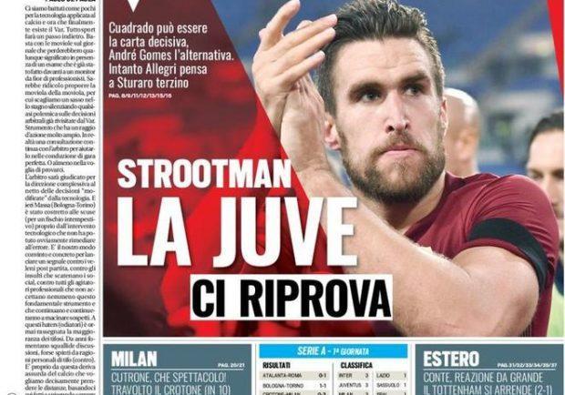 """Foto – Tuttosport in prima pagina: """"Strootman, la Juve ci prova"""""""