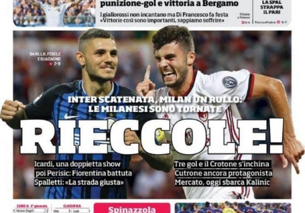 """Foto – Prima pagina del Corriere dello Sport: """"Milan e Inter: Rieccole"""""""