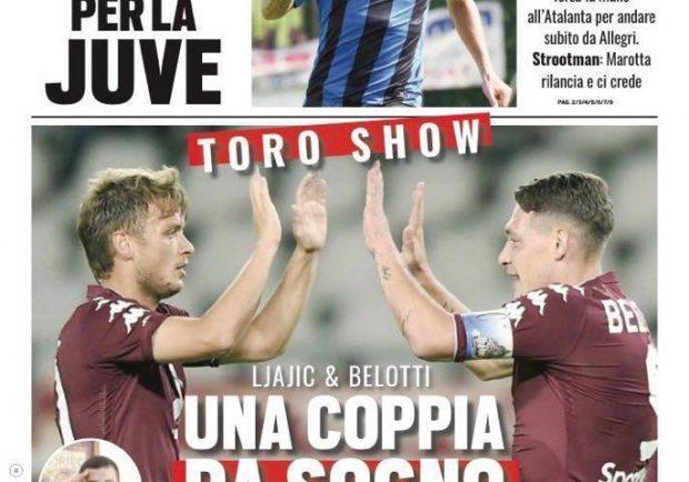 """Foto – Tuttosport in prima pagina: """"Ljajic & Belotti: Una coppia da sogno"""""""