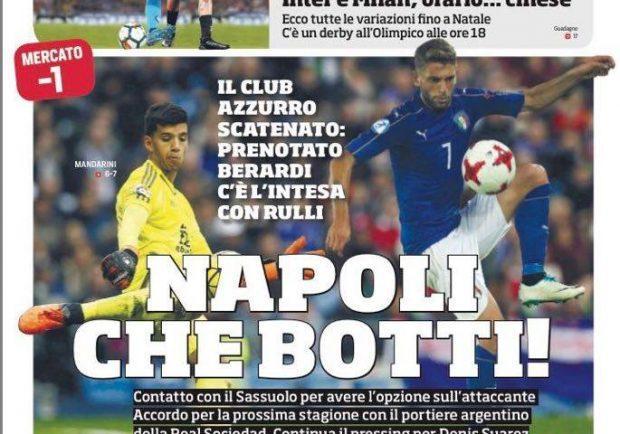"""Foto – Prima pagina del Corriere dello Sport: """"Napoli scatenato: Prenotato Berardi e c'è l'intesa con Rulli"""""""
