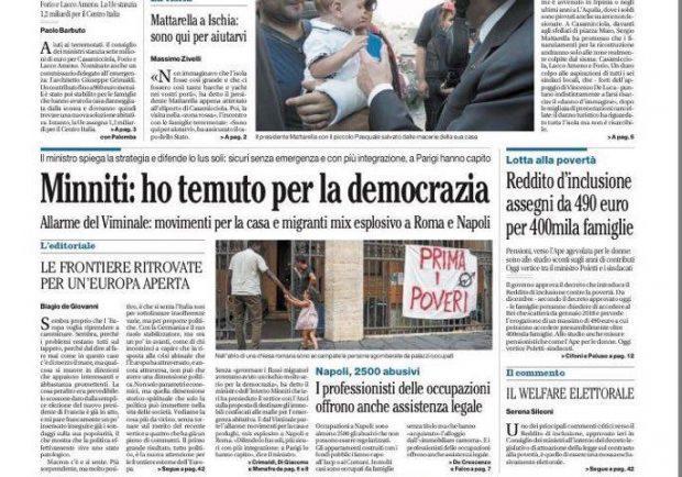 """Foto – Il Mattino titola: """"Zapata al Sassuolo e opzione per Berardi"""""""