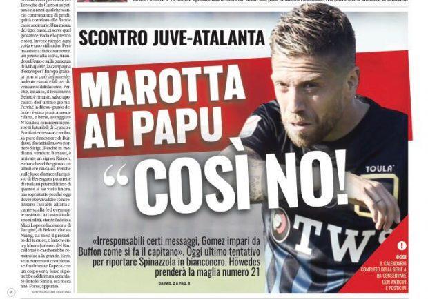 """FOTO – Tuttosport: """"Marotta, attacco al Papu Gomez"""""""