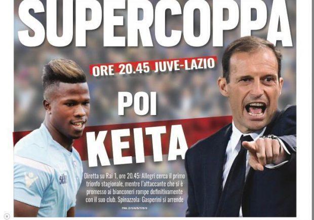 """FOTO – Tuttosport in prima pagina: """"Supercoppa poi Keita"""""""