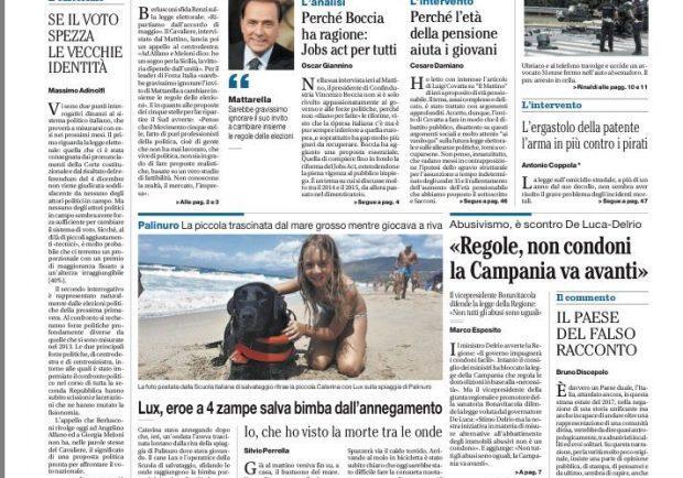 """FOTO – L'apertura de Il Mattino: """"Il mondo cambia, la passione azzurra no"""""""